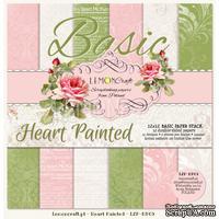 Набор скрапбумаги LemonCraft - Heart Painted Basic, фоновые дизайны, 30х30 см, с бонусом
