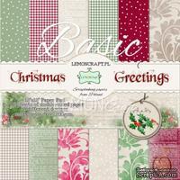 Набор скрапбумаги LemonCraft - Christmas Greetings, фоновые дизайны, 30х30 см, с бонусом
