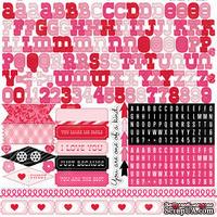 Лист наклеек - алфавит от Echo Park - Love Story Element Stickers, 30х30 см