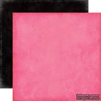 Лист скрапбумаги от Echo Park - Dk. Pink/Black Paper - двусторонняя, 30х30 см