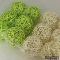 Декоративный круглый шарик, ротанг, средний, диаметр 5 см, 1 шт.