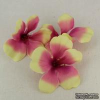 Гибискус тканевый розово-желтый, 6 см