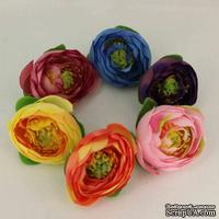 Тканевый цветок пиона, 4 см, цвет на выбор: желтый, бордовый, оранжевый, розовый, голубый, фиолетовый