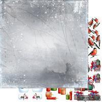 Лист двусторонней бумаги для скрапбукинга Зимння тайна 005, дизайн Елены Виноградовой, 30х30см, 200г/м
