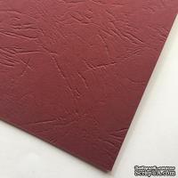 Картон с тиснением под кожу, цвет бордовый, 300гр/м2, 30х30см