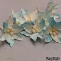 Набор бумажных лилий от Scrap Klumba, бело-голубые ,  12шт., диаметр 3,2смі