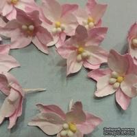 Набор бумажных лилий от Scrap Klumba, бело-розовые ,  12шт., диаметр 3,2смі