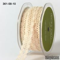 Вязаное кружево NATURAL, ширина 1,6см, длина 90 см, цвет бежевый