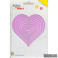 Набор лезвий Nellie Snellen - Multi Frame Die - Nested Heart, 10 штук