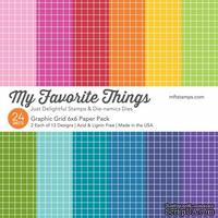 Набор бумаги My Favorite Things - Graphic Grid Paper Pack, размер 15х15 см, 24 листа.
