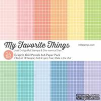 Набор бумаги My Favorite Things - Graphic Grid Pastels Paper Pack, размер 15х15 см, 24 листа.