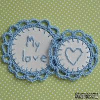 Набор вязаных украшений - тэгов ручной работы, цвет голубой, бумага - белая акварель, My Love