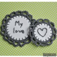Набор вязаных украшений - тэгов  ручной работы, цвет темно-серый, бумага - белая акварель, My Love