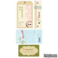 СКИДКА 40%! Набор тэгов из ткани Making Memories - WellWorn Tags Passport