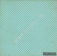 """Лист односторонней бумаги от Mona Design - """"Голубой горох"""", 30,5х30,5см"""
