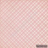 """Лист односторонней бумаги от Mona Design - """"Розовая клетка"""", 30,5х30,5см"""