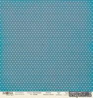 Лист односторонней бумаги для скрапбукинга от Mona Design - Базовый горох - Горох синий, 30,5х30,5см