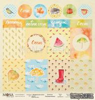 Лист односторонней скрапбумаги от Mona Design - Лист карточек Акварельная осень, 30,5х30,5 см