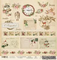 Лист односторонней скрапбумаги от Mona Design - Лист Открытки, 30,5х30,5 см