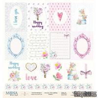 Лист двусторонней скрапбумаги  от Mona Design -  Cards1 - Chic wedding, 30x30см