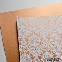 Лист дизайнерской бумаги с рисунком Роскошно 2, цвет Медь, А4