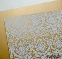 Лист дизайнерской бумаги с рисунком Роскошно 1, цвет Античное золото, А4