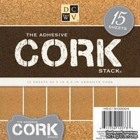Набор пробковой бумаги DCWV - Adhesive Cork Stack, 15х15 см, 15 листов