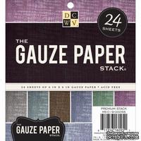 Набор цветного кардстока с марлевым покрытием DCWV - Gauze Specialty Stack, 15х15 см, 24 листа