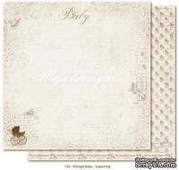 Лист двусторонней скрапбумаги от Maja design - Vintage Baby - Expecting,30х30 см