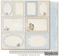 Лист двусторонней скрапбумаги от Maja design - Vintage Baby - Journaling cards blue,30х30 см