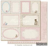 Лист двусторонней скрапбумаги от Maja design - Journaling cards pink,30х30 см