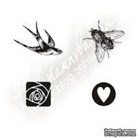 Набор мини-штампов N002 Набор ласточка, муха, роза, сердце, 4 штуки