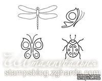 Набор мини-штампов N013 Бабочки, стрекоза, жучек, 4 штуки