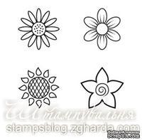 Набор мини-штампов N014 Цветы, 4 штуки