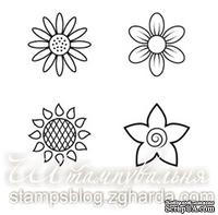 Набор мини-штампов N015 Цветы, 4 штуки