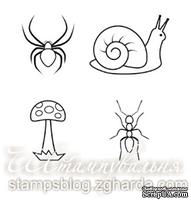 Набор мини-штампов N021 Улитка, мухомор, паук, муравей, 4 штуки
