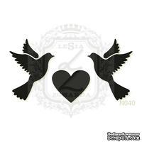 Акриловый штамп Lesia Zgharda Голуби и сердце N040