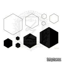 Акриловый штамп Lesia Zgharda N049 Соты и шестиугольники, набор из 10 штампов