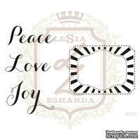 Набор акриловых штампов Lesia Zgharda N063 PEACE LOVE JOY + FRAME