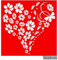 Трафарет - Сердце из цветов , 18*18см