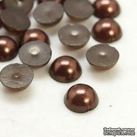 Полужемчужинки CoconutBrown, 4x2мм, цвет коричневый, 50 шт.