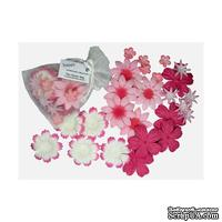 Декоративные бумажные цветочки,  цвет: розовый, 2-5 см, 25 шт.