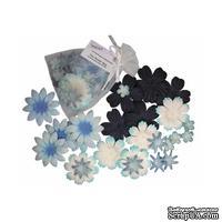 Декоративные бумажные цветочки,  цвет: голубой, 2-5 см, 25 шт.