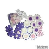 Декоративные бумажные цветочки,  цвет: фиолетовый, 2-5 см, 25 шт.