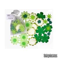 Декоративные бумажные цветочки,  цвет: зеленый, 2-5 см, 25 шт.