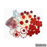 Декоративные бумажные цветочки,  цвет: красный, 2-5 см, 25 шт.