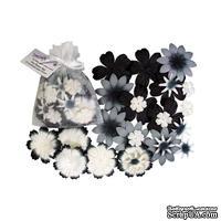 Декоративные бумажные цветочки,  цвет: белый, серый, 2-5 см, 25 шт.