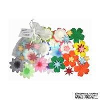 Декоративные бумажные цветочки разных цветов, 2-5 см, 25 шт.