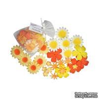 Декоративные бумажные цветочки,  цвет: зеленый, оранжевый, 2-5 см, 25 шт.