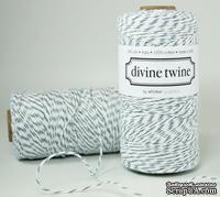 Хлопковый шнур от Divine Twine - Oyster Gray, 1 мм, цвет серый//белый, 1м